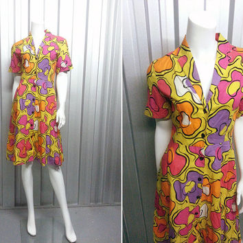 80s Does 40s Hawaiian Dress Psychedelic Print Shirt Waister Day Dress Shirtwaist Fried Egg Rockabilly Dress Bright Yellow Resort Wear Tea