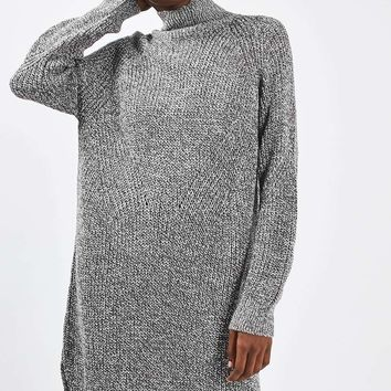 Rib Grunge Funnel Jumper Dress | Topshop