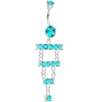 925 SilverAqua CZ Chandelier Ladder Style Dangle Belly Ring