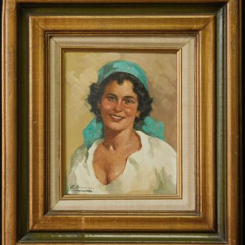 """Vintage Oil Painting """"Portrait of Woman"""" Signed"""