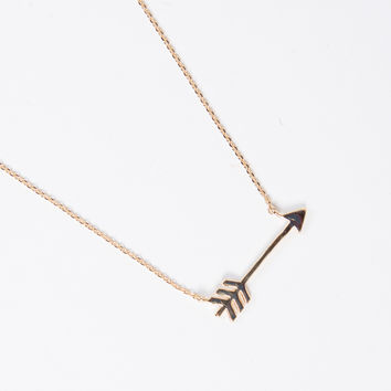 Golden Arrow Pendant Necklace