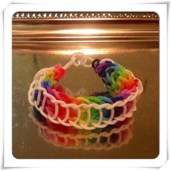 Reversible Rainbow Rubber Band Bracelet Multicolor Bracelet in Red, Pink, Yellow, Green, Blue & Purple Friendship Stretch Bangle Bracelet