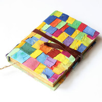 Colorful Journal, antique diary, notebook, diary journal, travel journal, blank book, old paper