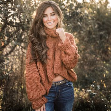 Cropped Turtleneck Sweater - Spoiled Rotten Boutique