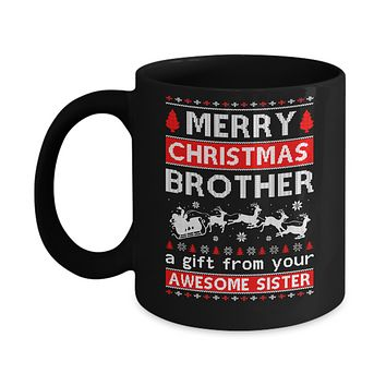 Merry Christmas Brother A Gift From Your Sister Sweater Mug