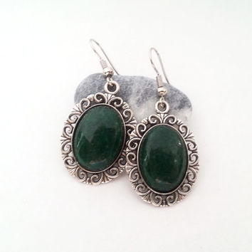 Silver plated green jade cabochon earrings simple delicate gift idea for her gift package