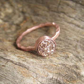 Tiny Rose Gold Druzy Ring Titanium Drusy Quartz 18K Rose Gold Vermeil Hammered Band