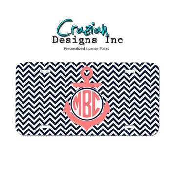 Custom Personalized License plate - Navy Coral Chevron Front License Plate - Monogram car tag