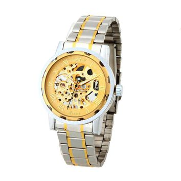WINNER Gorgeous Automatic Mechanical Watch Gold Dragon Pattern Manual Wind-up Popular Business Wristwatch