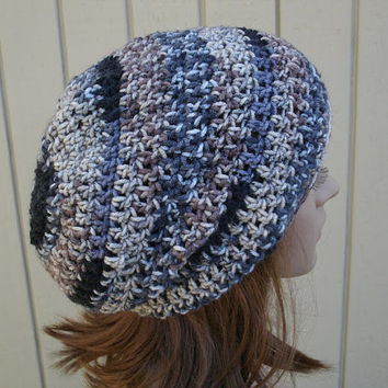 Slouchy Beanie - Mens Crochet Hat - Womens Hat - The Eden in Natural Stripe - Gamers Hat - Ready to Ship