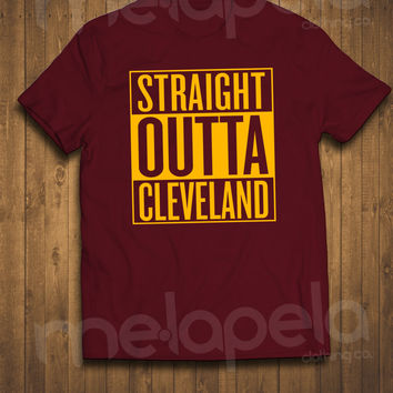 Straight Outta Cleveland & Akron T-Shirts (Cavaliers Colors) Adult Sizes