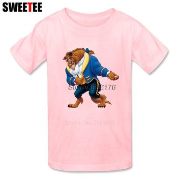 children's Beauty And The Beast Kid Toddler Clothing T Shirt Infant Pure Cotton Boy Girl 2018 T-shirt Round Neck Kid Tshirt