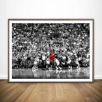 Sport Star Michael Jordan Last Shot 1998 Colorized Poster Wall Art Wall Decor Silk Prints Art Poster Paintings For Living Room