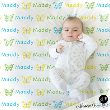 Butterfly Name Blanket for Girl, personalized baby gift photo prop blanket, repeating name with butterfly, personalized blanket, choose your colors