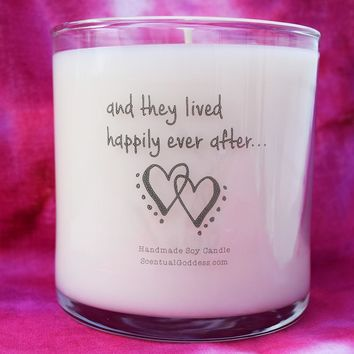 And They Lived Happily Ever After Candle - Wedding Gift, Engagement Gift, Love Marriage Hearts