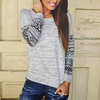 Heathered  Tribal Print Long Sleeves Tee