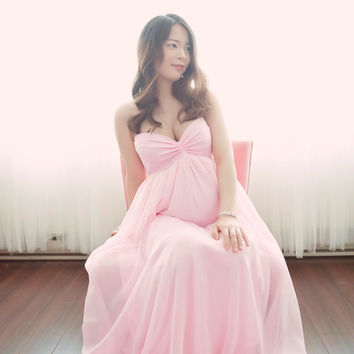 Vanessa pink chiffon maternity gown with lining closed front/Maternity Dress/Senior photo shoot/wedding gown/bridal gown/prom dress