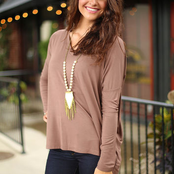 Piko V neck top - brown