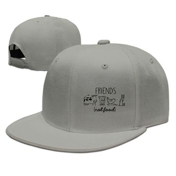 Vegan Animal Lover Rights Friends Printing Unisex Adult Womens Hip-hop Hats Mens Fitted Hats