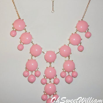 Bubble Necklace J Crew Inspired - Baby Doll Pink Statement Bib Necklace