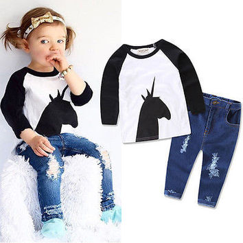 Newborn Toddler Kid Baby Boy Girl Clothes Set Long Sleeve T shirt Tee +Denim Pants Jeans Outfits