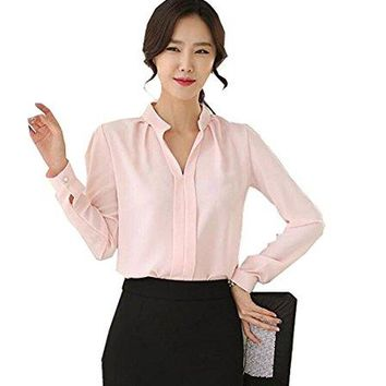 No brand Women V-Neck Long Sleeve Sheer Chiffon Shirt Blouse Tops Elegant Solid Casual Shirts