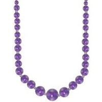 Graduated Round Amethyst Beads Necklace with Sterling Silver Beads and Ball Clasp (6-14mm), 18""