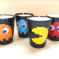 Pac Man Candles Set of 4 - Soy Shot Glass Candles - CHOICE OF SCENT