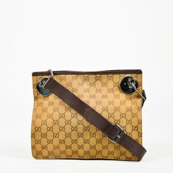 "Gucci Beige & Brown Monogram Canvas & Leather ""Eclipse Messenger"" Bag"