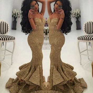 Luxurious Spaghetti Strap Gold Sequined Mermaid Prom Dresses 2017 Long New Collection Black Girl Prom Dress