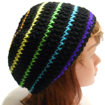 Crochet Black and Rainbow Tam Slouchy Beanie