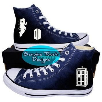 Custom Converse, Doctor who, Tardis, Time lord, Fanart shoes, Custom Chucks, painted s