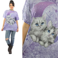 Cat shirt Kitten Tshirt Kitty Tee shirt white cat blue eyed cat tee purple tie dye Ombre cat animal tee Celestial print  moon stars L Large
