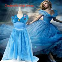 2015 cinderella dresses Girls V neck Ball Gowns Pleated Party Prom Dresses New Movie Kids Clothing Blue Summer Children Ruffle Formal Dress.