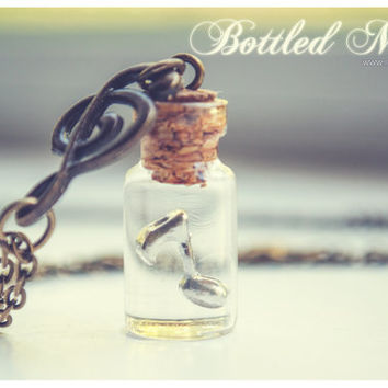 Bottled Music Bottle necklace. Vial necklace with music note. mini Glass bottle necklace. Musical Bottle Pendant. Music necklace