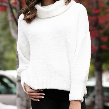 Grace & Lace Cowl Neck Cloud Sweater (White)