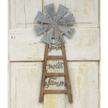 Farm Sweet Farm Windmill Wall Hanger
