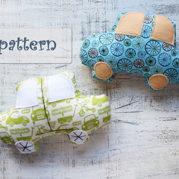 PATTERN for car toy stuffed car soft DIY car pattern 8x10 inches nursery decor gift for boy