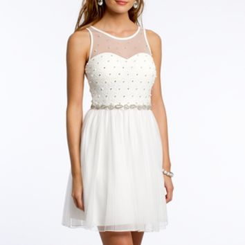 Mesh Dress with Pearl Beading