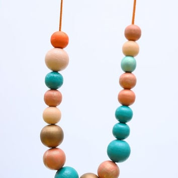 Teal turquoise and orange long necklace, chunky wooden beads, abstract necklace pastel OOAK necklace, wood hand painted necklace