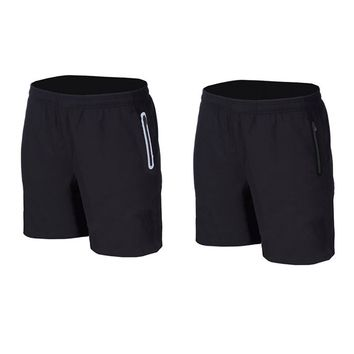 elastic running shorts fitness basketball tennis soccer football beach board shorts Pocket with zipper Reflective