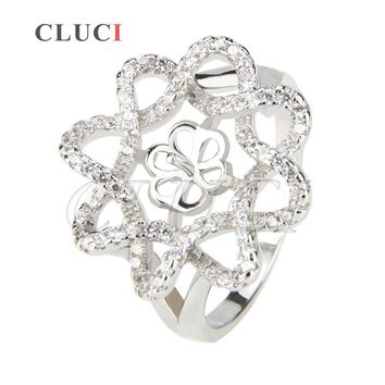 CLUCI fashion 925 sterling silver ring accessory shining Flower shaped ring accessories for women DIY pearl ring