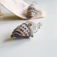 Cone big seashell earrings- glamour summer fashion - sea earrings- cone shell