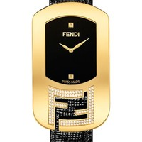 Women's Fendi 'Chameleon' Leather Strap Watch, 29mm x 49mm - Gold/ Black