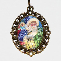 Santa Claus Necklace, Christmas Jewelry, Santa Lantern, Xmas, Blue Santa, Oval Pendant