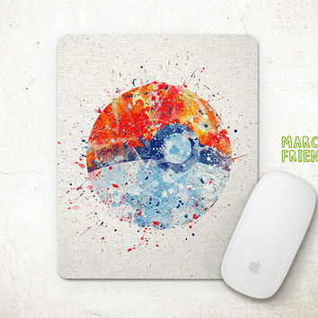 Poke Ball Mouse Pad, Pocket Monster Watercolor Art, Mousepad, Office Deco, Holiday Gift, Art Print, Desk Decor, Pokemon Accessories