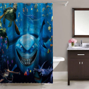 Best Disney Pixar Finding Nemo Print On High Quality Waterproof Shower Curtain