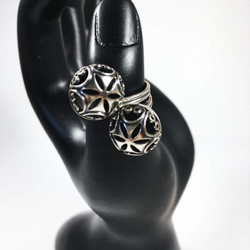 Sterling Silver Dancing Spheres Filigree Statement Ring, Vintage Beau Sterling Jewelry, Art Nouveau Style Modernist Open Work Ring Design
