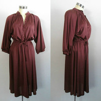 1970s Boho Chic Office Dress /Dolman Sleeve Copper Rust Jersey