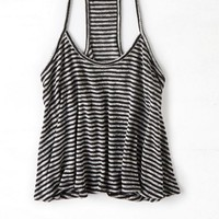 AEO Women's Feather Light Striped Racerback Tank (Black)